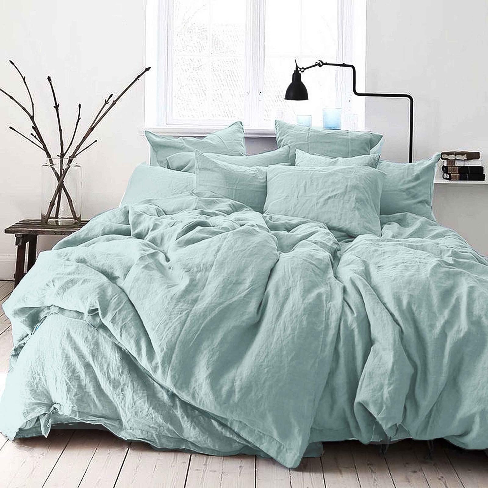 цена Комплект постельного белья Seta Лён De Lux Aqua Sprill 01783303, евро, наволочки 50x50 см онлайн в 2017 году
