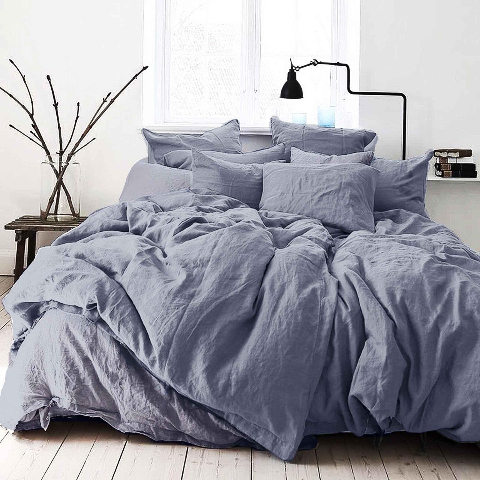 цена Комплект постельного белья Seta Лён De Lux Dark Blue 01783305, евро, наволочки 50x50 см онлайн в 2017 году