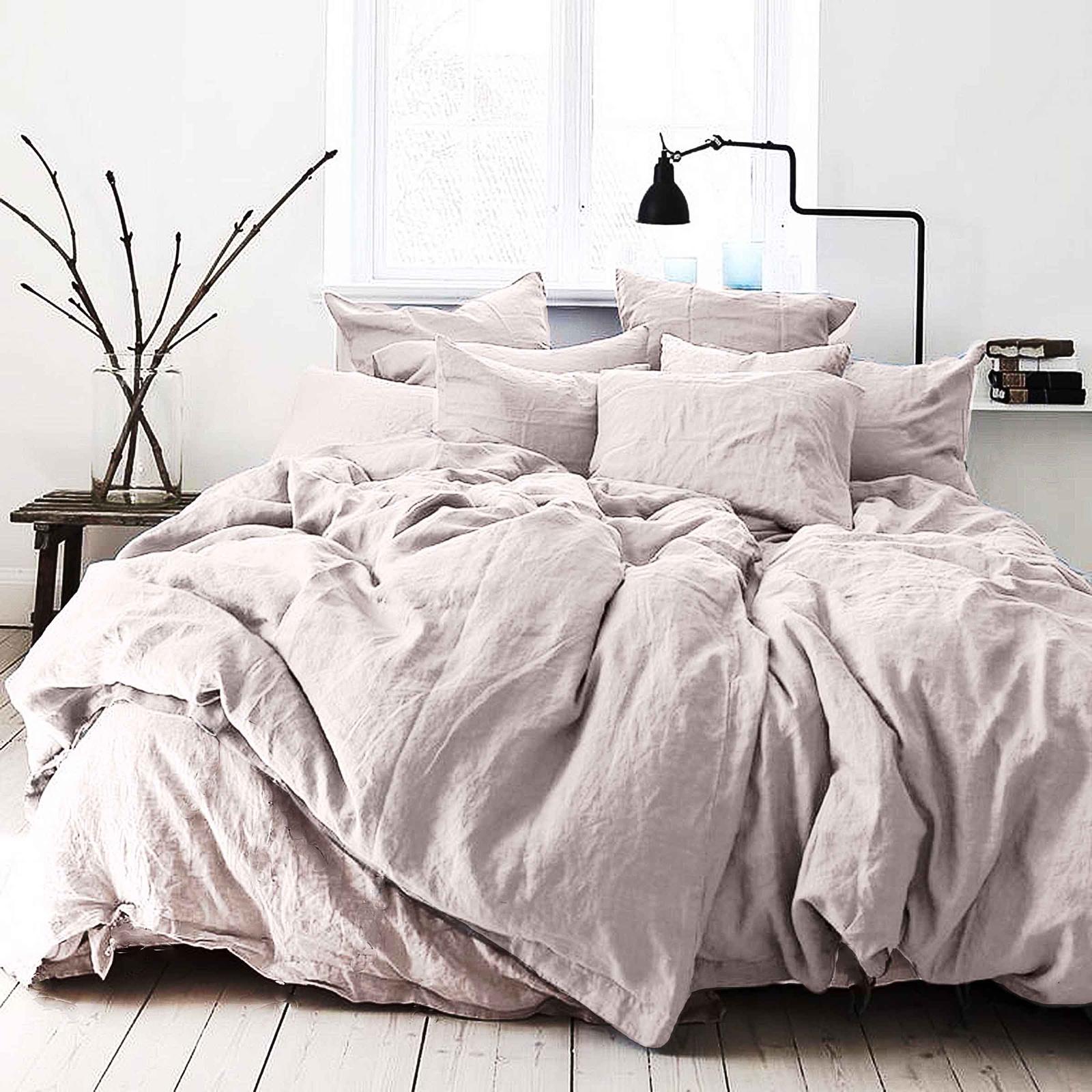 цена Комплект постельного белья Seta Лён De Lux Light Pink 01783304, евро, наволочки 50x50 см онлайн в 2017 году