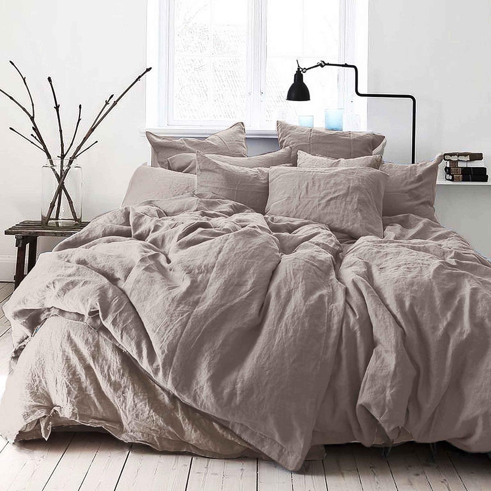 цена Комплект постельного белья Seta Лён De Lux Skyline Grey 01783302, евро, наволочки 50x50 см онлайн в 2017 году