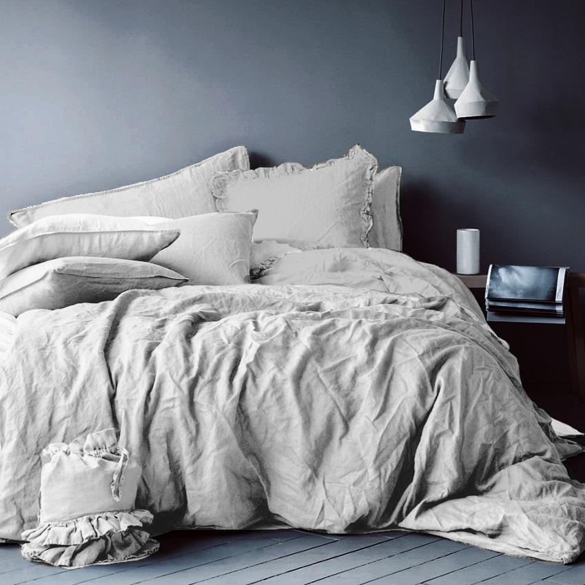 цена Комплект постельного белья Seta Лён Light Grey 01793202, евро, наволочки 70x70 см онлайн в 2017 году