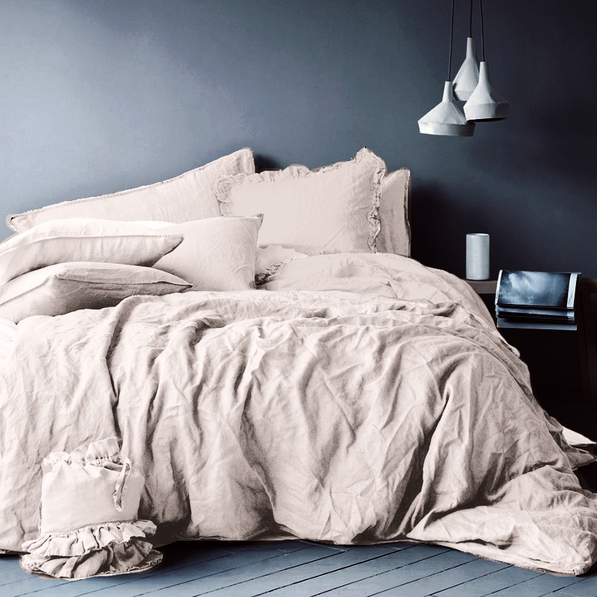 цена Комплект постельного белья Seta Лён Light Pink 01793304, евро, наволочки 50x50 см онлайн в 2017 году