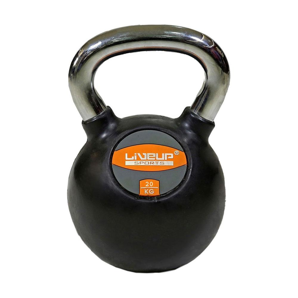 Гиря LIVEUP Rubber Kettlebell Dumbell, LS2044-20, 20 кг гиря цельная атлант 32 кг хром сталь