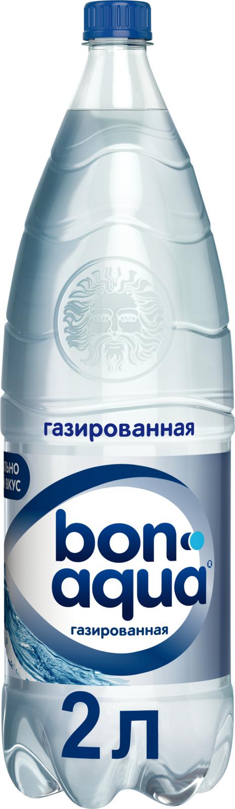 Bon Aqua Вода чистая питьевая газированная, 2 л