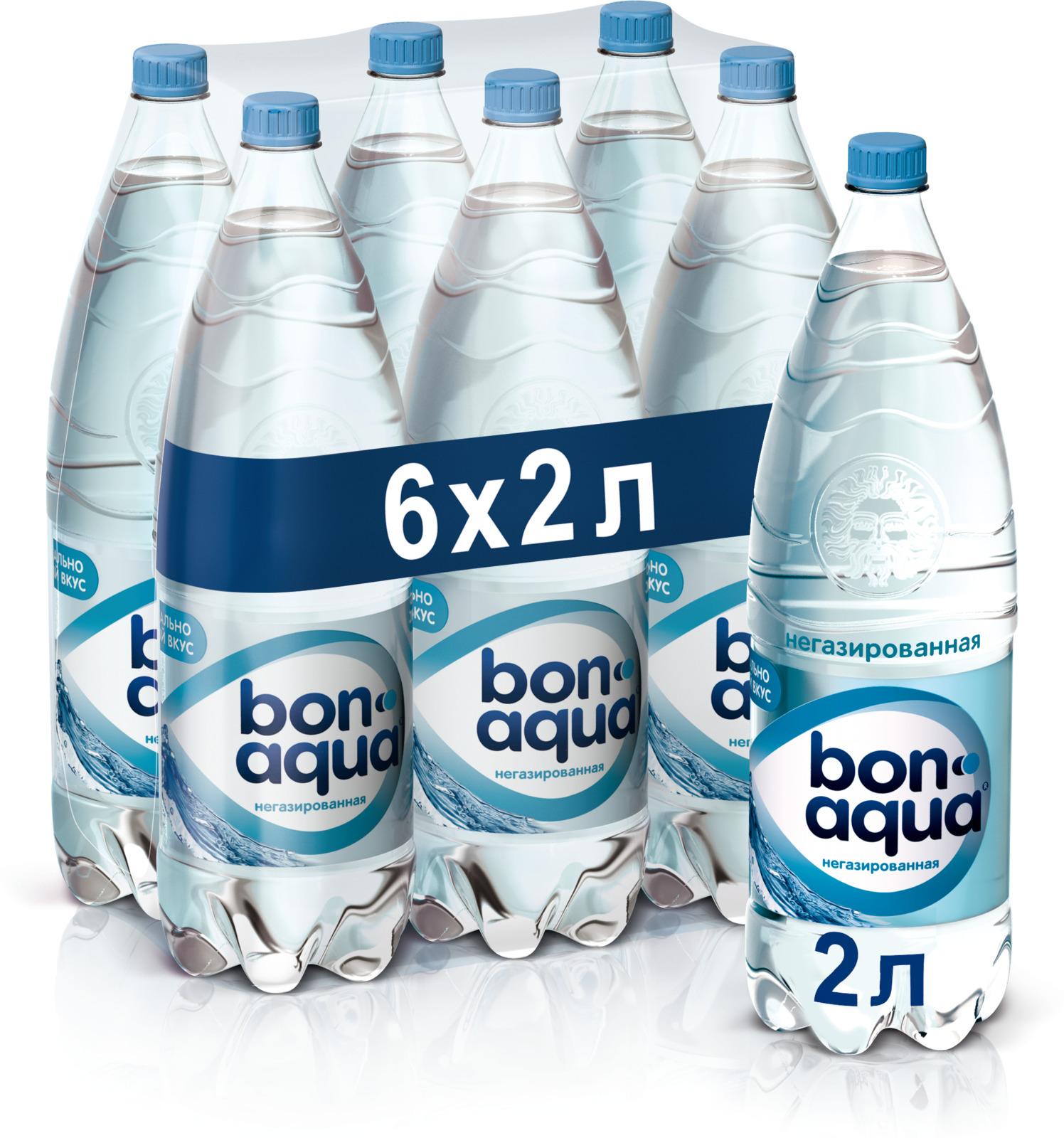 BonAqua вода чистая питьевая негазированная 6 штук по 2 л
