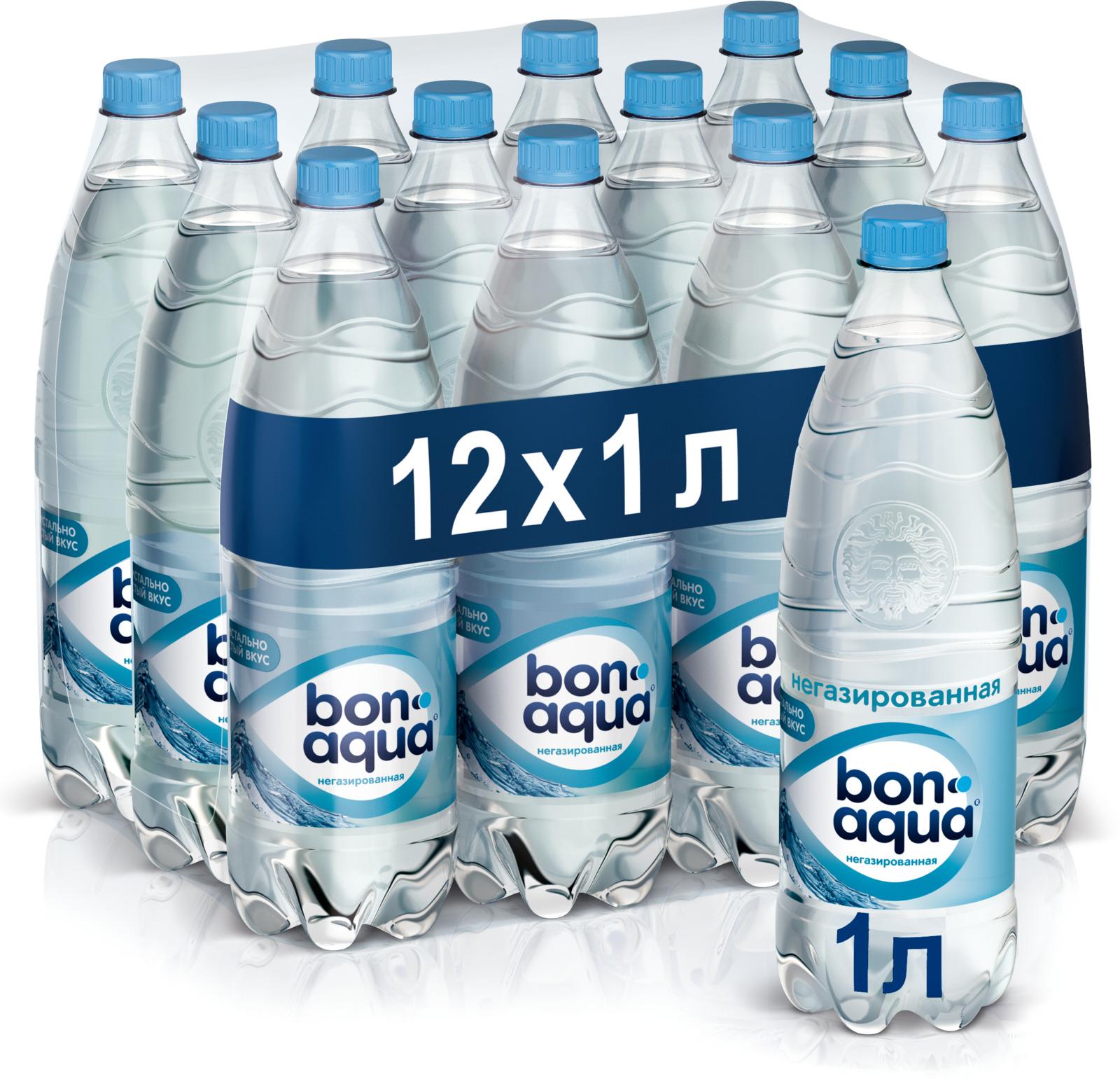BonAqua вода чистая питьевая негазированная 12 штук по 1 л