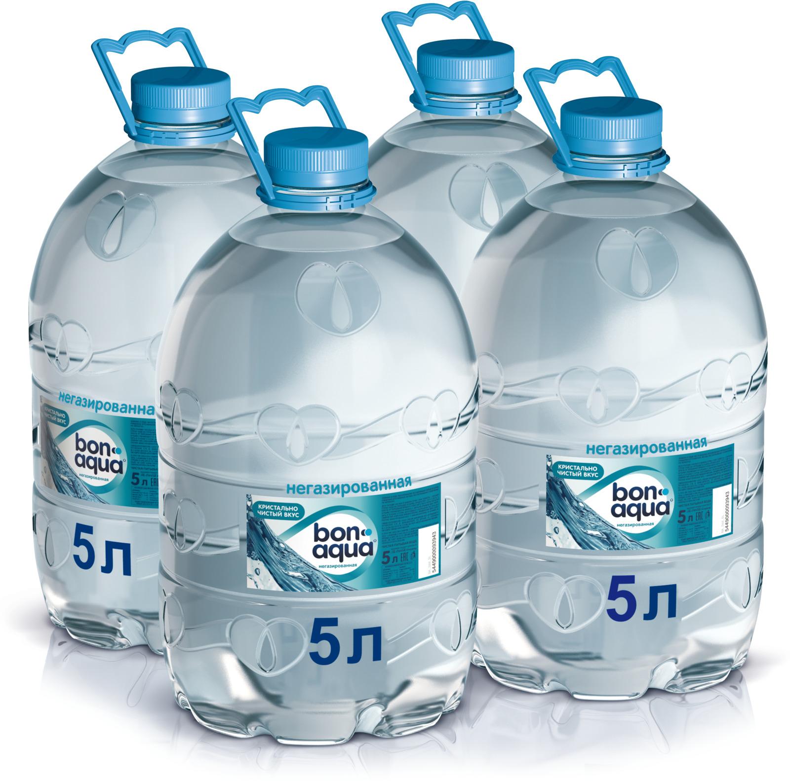 BonAqua вода чистая питьевая негазированная 4 штуки по 5 л