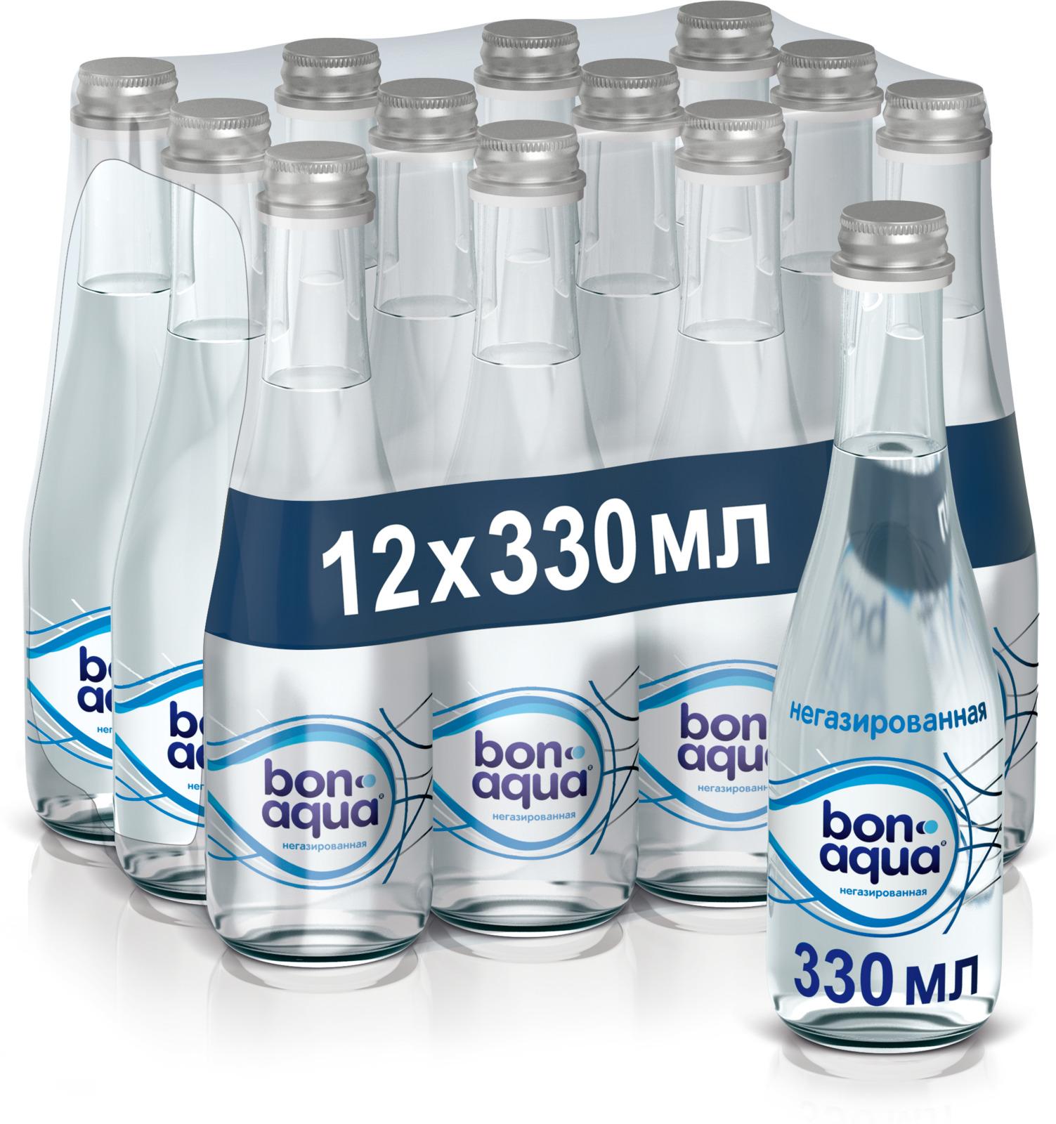BonAqua вода чистая питьевая негазированная 12 штук по 0,33 л