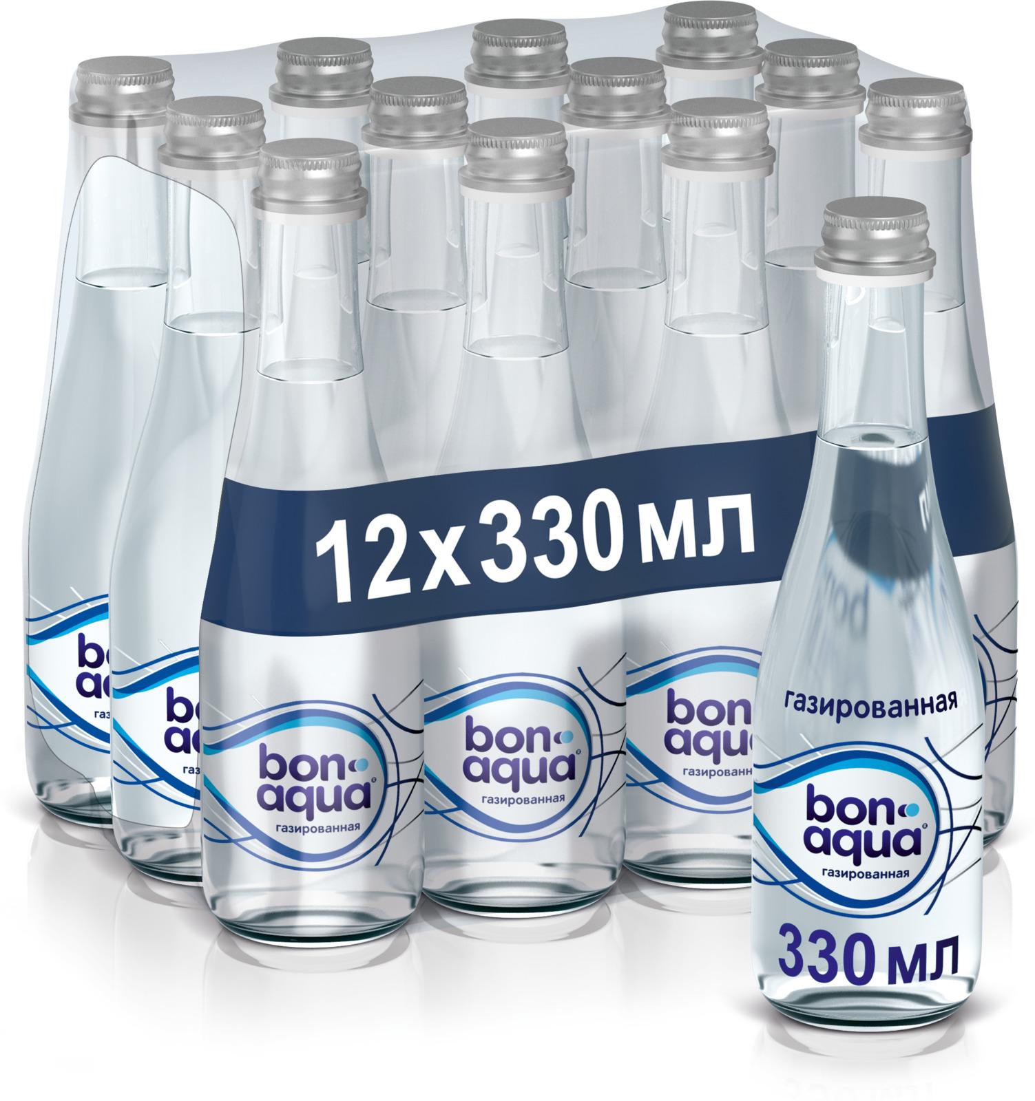 BonAqua вода чистая питьевая газированная 12 штук по 0,33 л