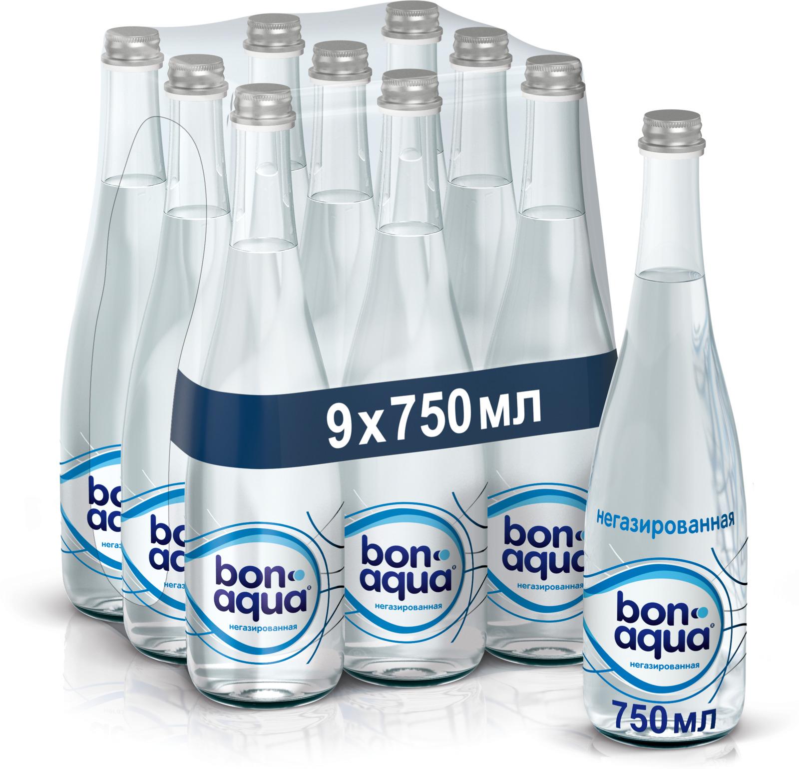 BonAqua вода чистая питьевая негазированная 9 штук по 0,75 л