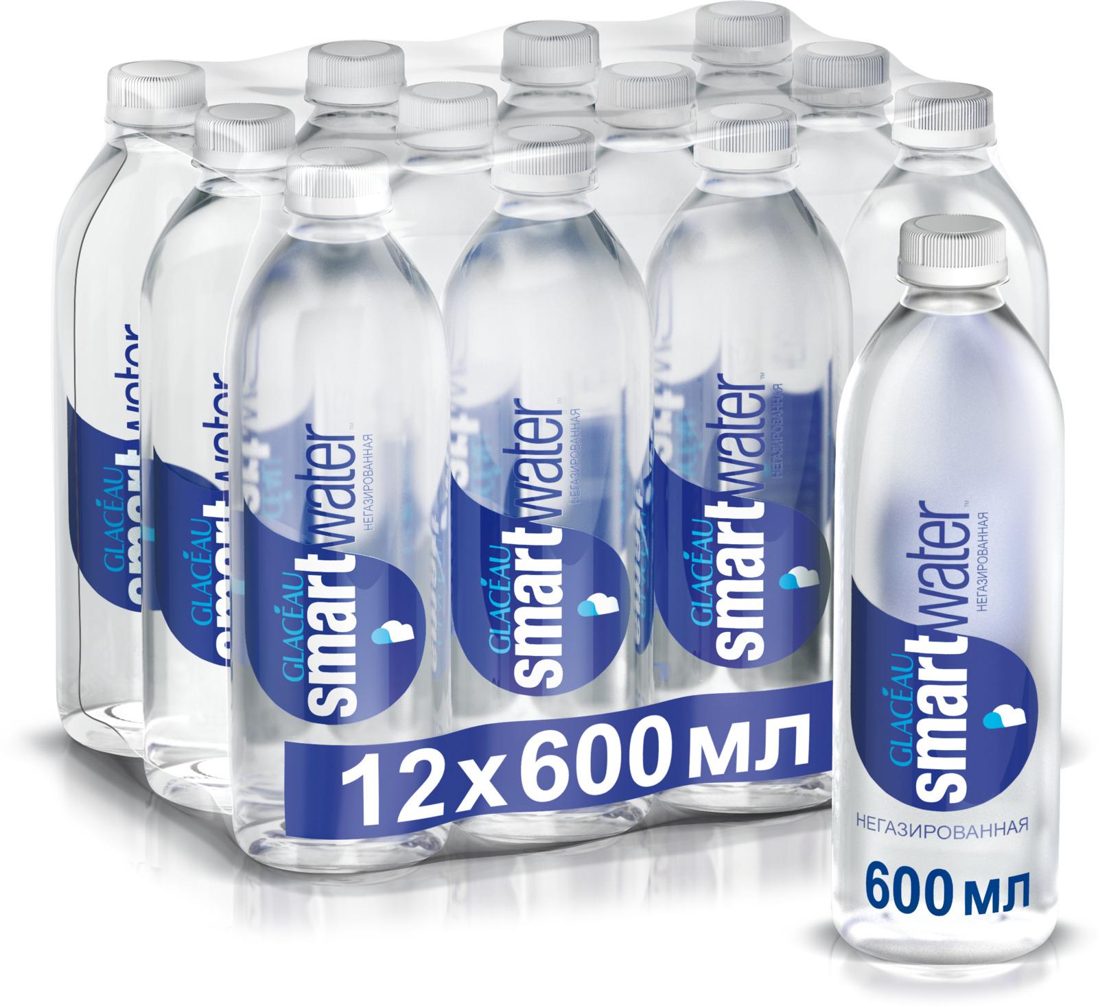 Вода Smartwater чистая питьевая негазированная, 12 шт по 0,6 л