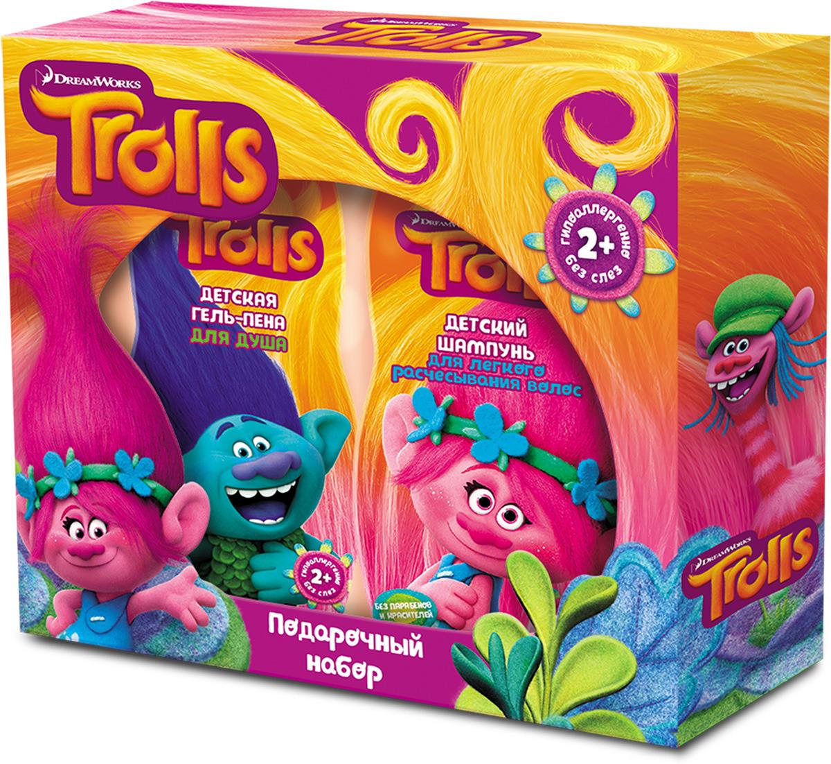 Подарочный набор Trolls шампунь для легкого расчесывания волос, 300 мл + гель-пена для душа, 300 мл bath therapy 2 в 1 детский гель для душа и шампунь для волос взрывной апельсин 500 мл