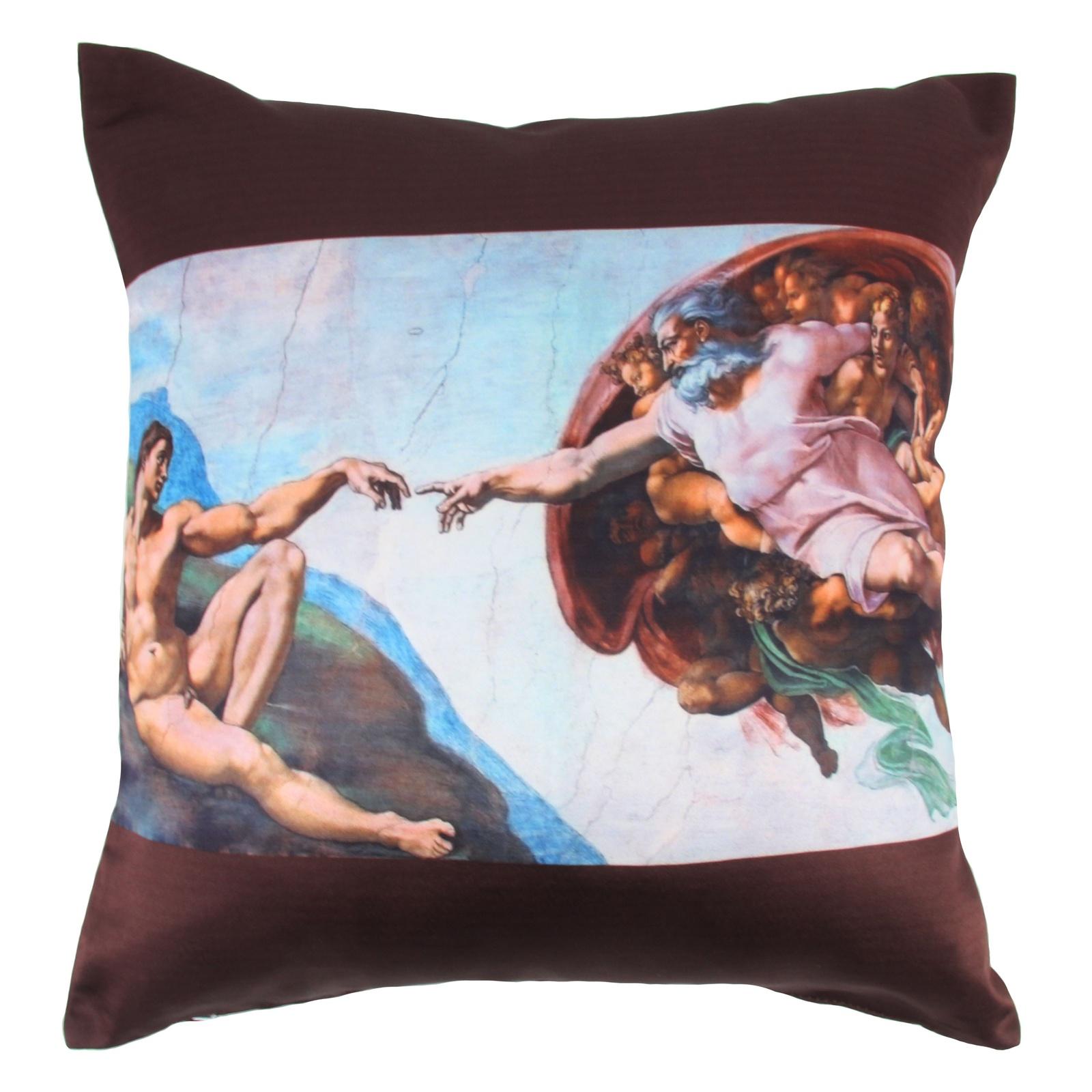 Наволочка декоративная Рапира Сотворение Адама, 295, белый, голубой, коричневый, 45х45 см декоративные подушки tango декоративная наволочка emily 45х45