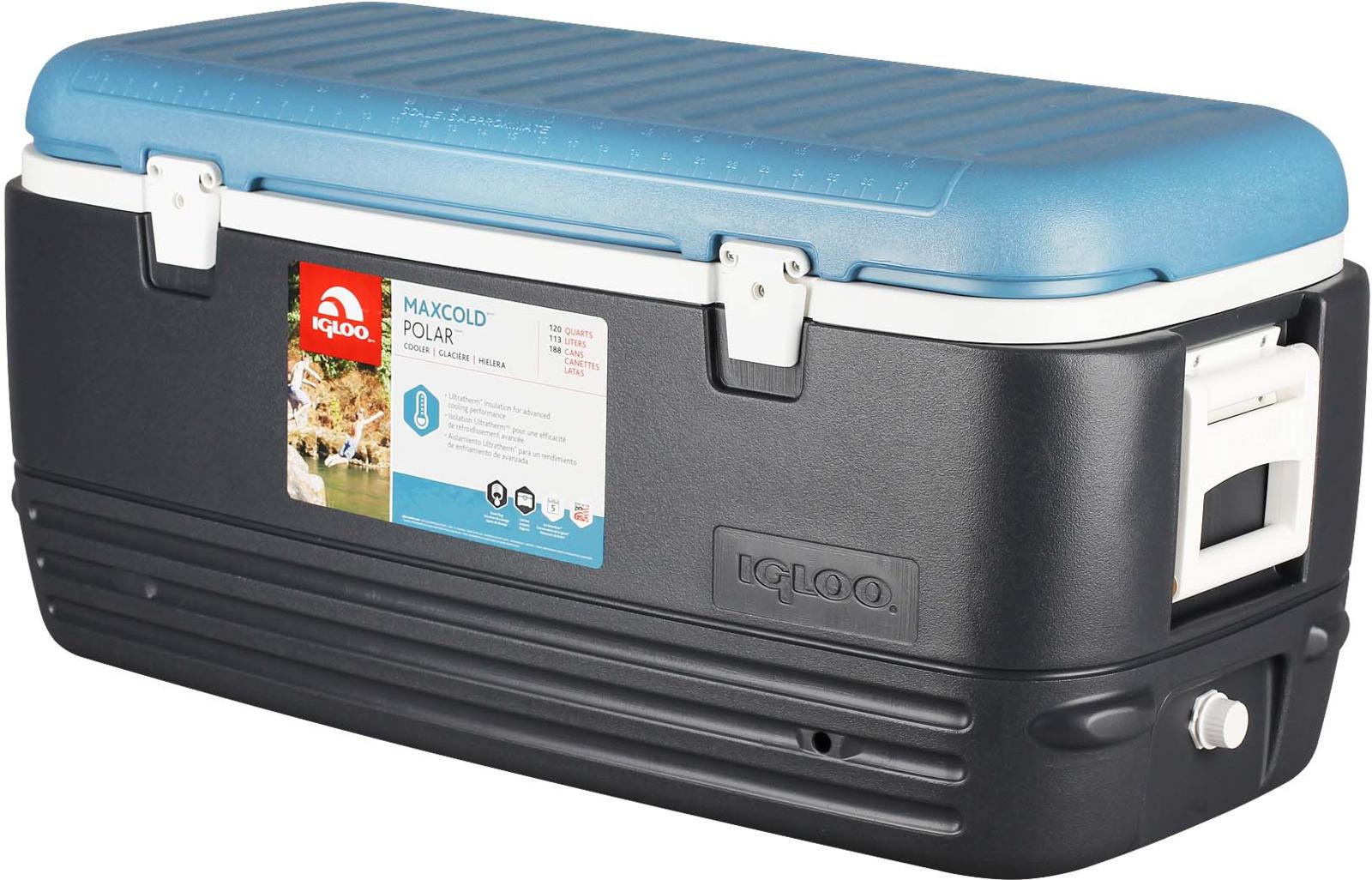 Контейнер изотермический пластиковый Igloo MaxCold Polar 120, 49497, темно-синий