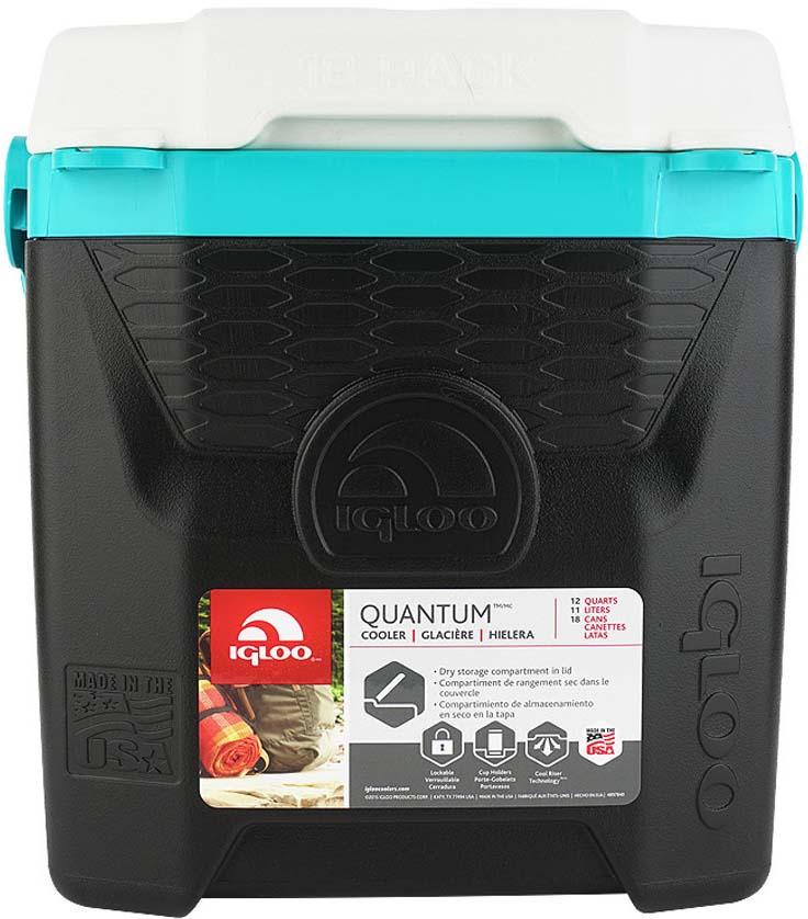 Контейнер изотермический пластиковый Igloo Quantum 12, 32273, черный, бирюзовый, белый