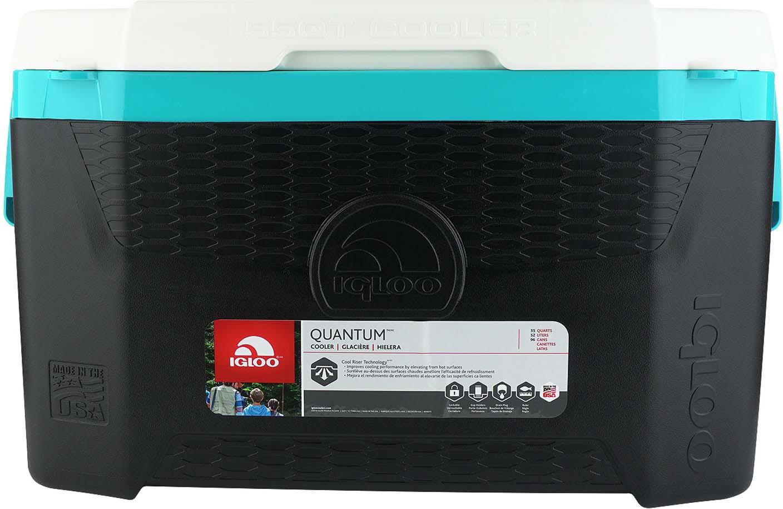 Контейнер изотермический пластиковый Igloo Quantum 55, 49650, черный, бирюзовый, белый