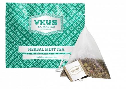 Чай в пирамидках VKUS tea master Травяной мятный чай, в пирамидках на чашку, 50шт*2гр440095Травяной чай из перечной мяты в пирамидках для заваривания в чашке 250-350мл. Мята - королева трав - это классика, являющаяся неотъемлемой составляющей любого хорошего ассортимента чая. Мятный чай отличается свежей ароматной нотой. Не содержит кофеина.