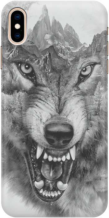 Чехол-накладка Gosso Cases Волк в горах для iPhone XS/X, 180242, ультратонкий, силиконовый телефон