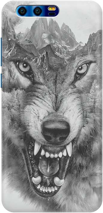 """Чехол-накладка Gosso Cases """"Волк в горах"""" для Huawei Honor 9, 180044, ультратонкий, силиконовый"""