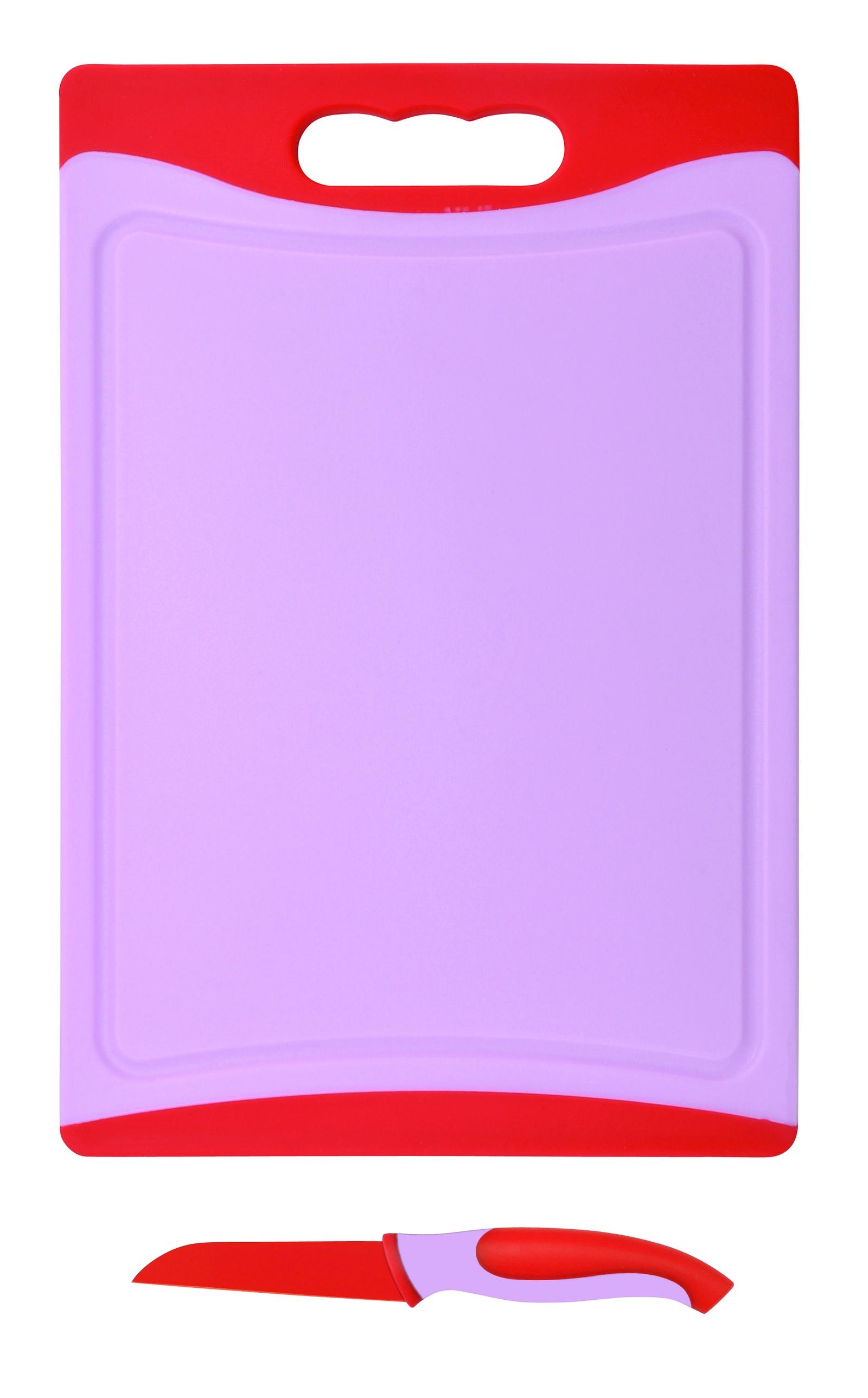 Набор ножей Bohmann BH-5212, 2 шт, 9см + доска разделочная, красный разделочная доска домашний сундук гибкая цвет красный синий 2 шт