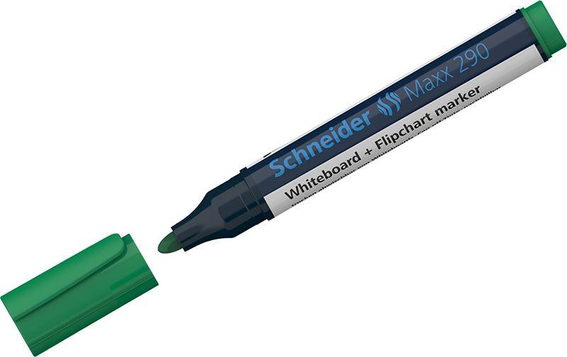 Маркер для белых досок и флипчартов Schneider Maxx 290, 3 мм, цвет: зеленый, 10 шт
