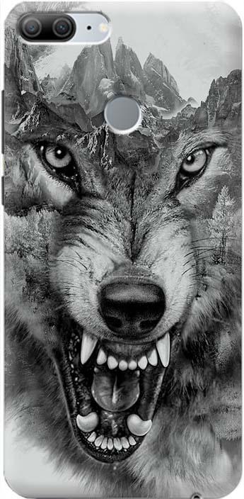 """Чехол-накладка Gosso Cases """"Волк в горах"""" для Huawei Honor 9 Lite, 180055, ультратонкий, силиконовый"""