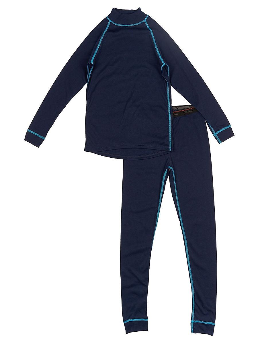 Комплект термобелья Chersa, цвет: синий, размер 281935_синий_28Комплект термобелья (джемпер и лосины) выполнен из высококачественных материалов. Джемпер с длинным рукавом. Лосины с манжетами, на поясе декоративная резинка шириной 2,5 см. Состав: поливискоза - 50%, полиэстер - 50%.