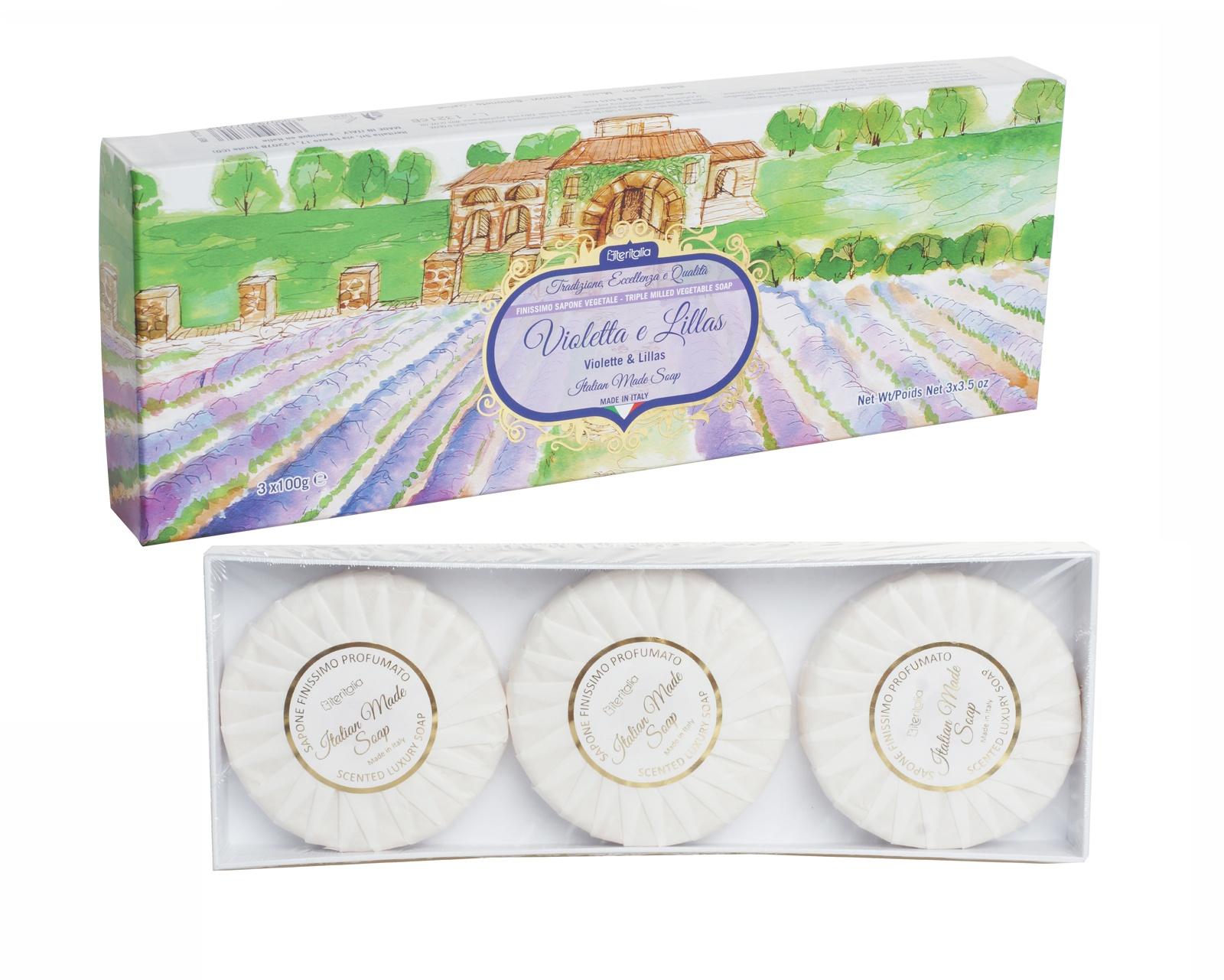 Подарочный набор Iteritalia премиальное мыло с ароматами фиалки и сирени Цветы Италии, 3 х 100 г iteritalia мыло высококачественное натуральное растительное с ароматом мандарин юдзу 125 г