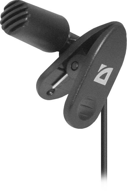 Микрофон Defender MIC-109 черный, на прищепке, 1,8 м, 64109