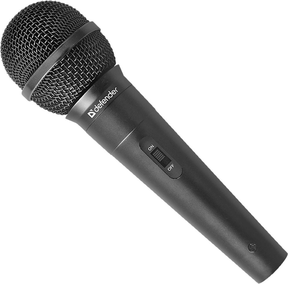 Микрофон караоке Defender MIC-130 черный, кабель 5 м адаптер аудио hama 00122388 jack 3 5 m jack