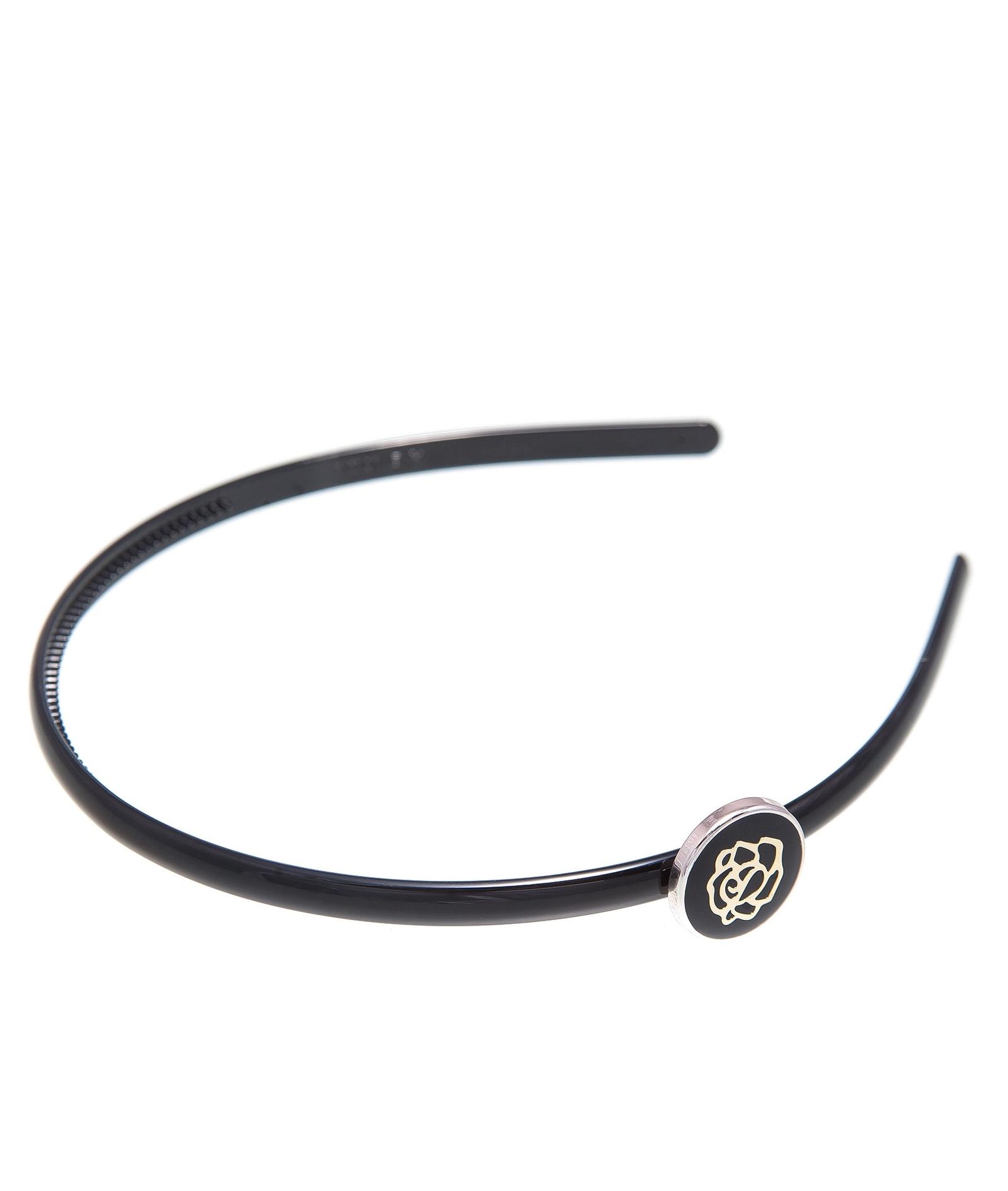 Ободок женский Kameo-bis, HO810055, черныйHO810055Размер 35 х 1 см, диаметр украшения 2 см, пластиковый каркас. Состав: сплав на основе латуни, пластик