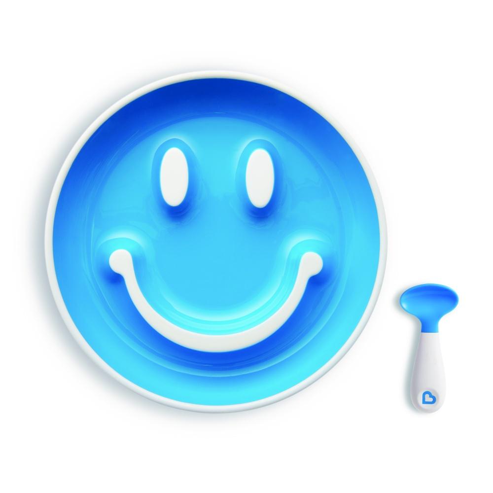 "Munchkin Набор ""Улыбка"" (тарелка на присоске и ложка) 9+ голубая"