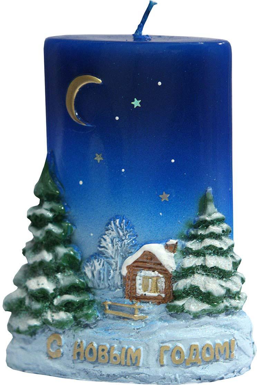 """Свеча декоративная Мир свечей """"С Новым годом"""", 63-1057, мультиколор, высота 8 см"""