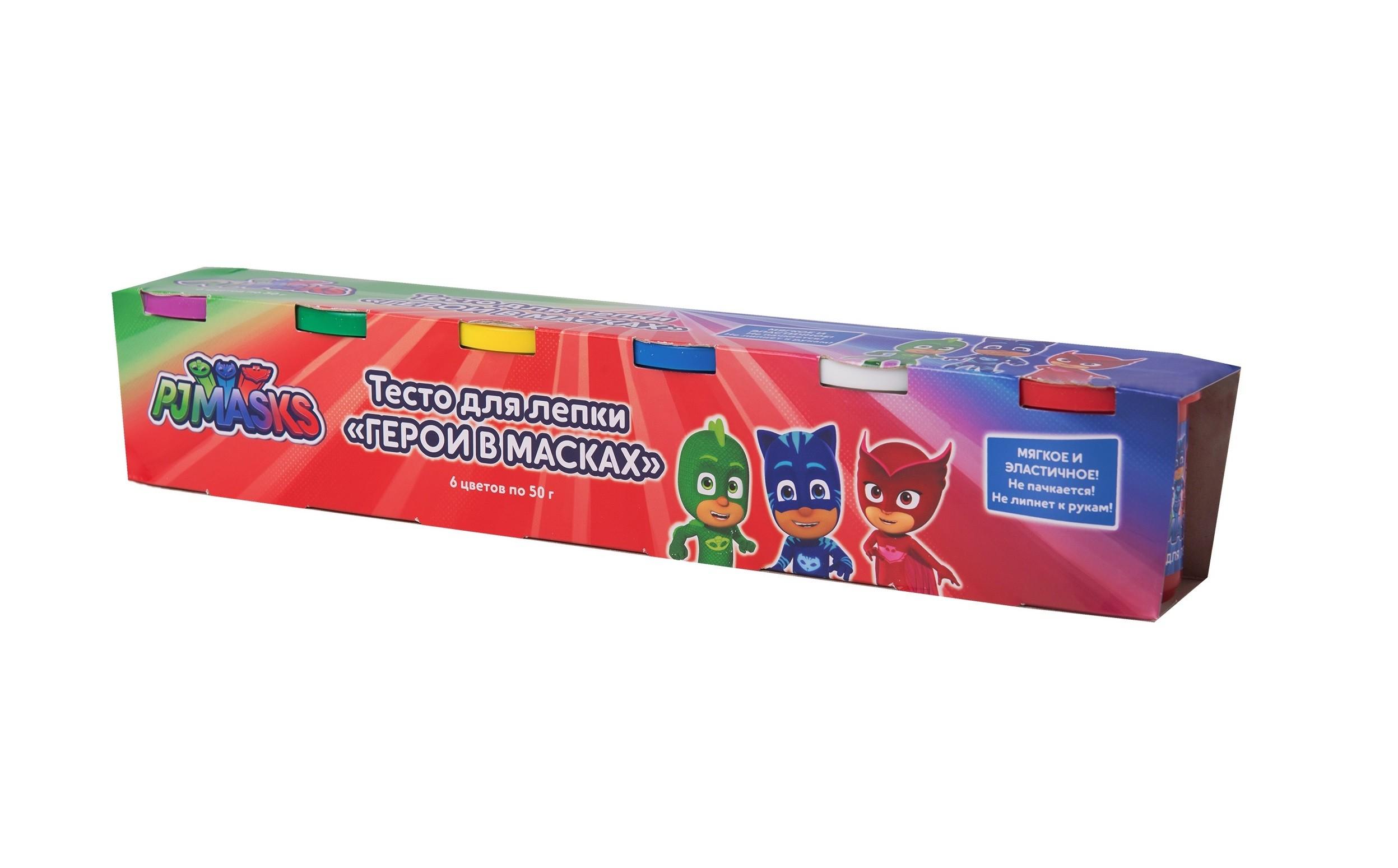 """Тесто для лепки PJ Masks """"Герои в масках"""", 6 шт по 50 г"""