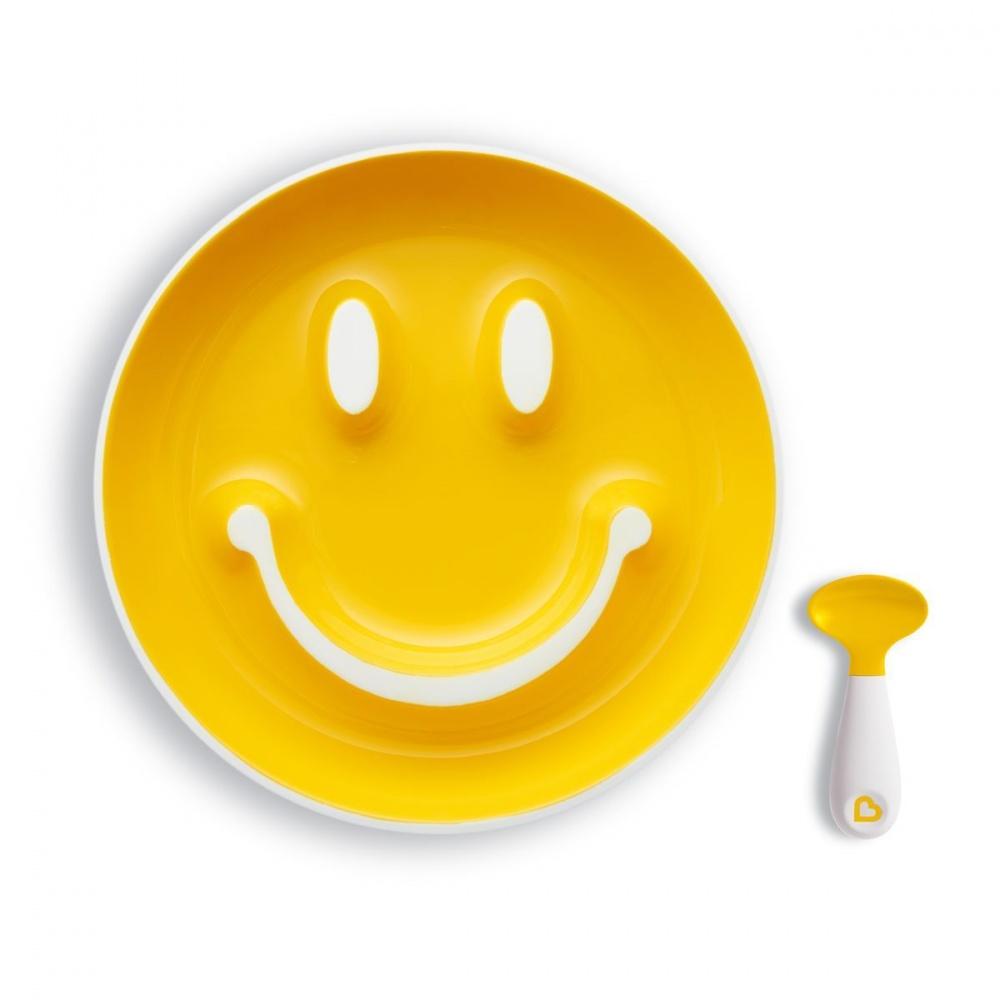 "Munchkin Набор ""Улыбка"" (тарелка на присоске и ложка) 9+ жёлтая"