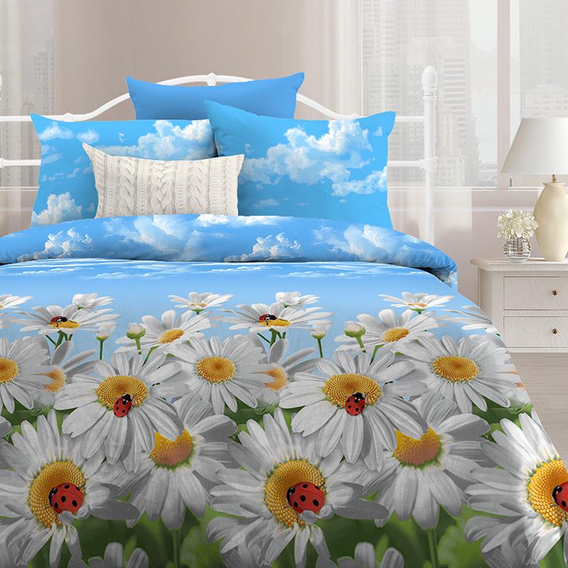 Комплект белья Любимый дом Ромашки, 516422, семейный, наволочки 70х70