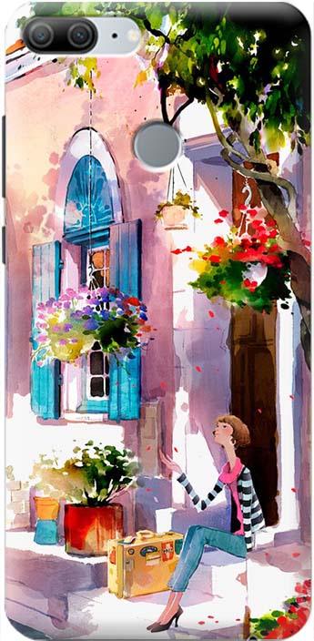 "Чехол-накладка Gosso Cases ""Девочка на цветущей улочке"" для Huawei Honor 9 Lite, 180058, разноцветный"