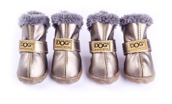 Обувь для животных Arnydog.ru Ботиночки Dog с мехом черные X-018-1_4, серебристый