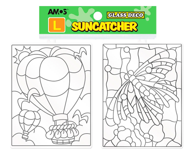 Набор для росписи Amos ВИТРАЖИ-МАКСИ 2шт. воздушный шар, стрекоза воздушный шар sam baloes 2 0154