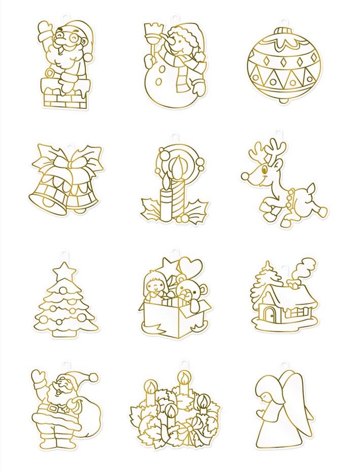 картинки для рисования витражными красками новый год