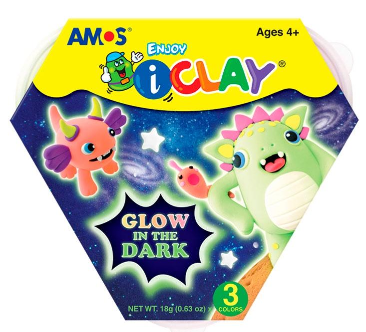 Масса для лепки Amos МАССА iClay для лепки светящаяся в темноте 3 цв23437СОСТАВ: 3 цвета: розовый, салатовый, персиковый в баночках по 18г. Масса застывает на воздухе, светится в темноте. Применяется для создания поделок. Прежде чем масса полностью высохнет, вы можете внести измения в поделку, предварительно увлажнив её водой из распылителя. Смешав массу между собой, можно получить новые цвета.