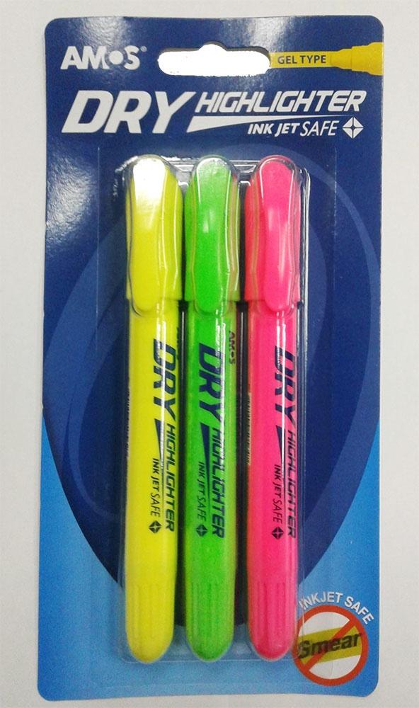 Маркер AMOS Набор маркеров-текстовыделителей 3 цвета (зеленый, розовый, желтый). набор текстовыделителей silwerhof prime 4 цвета 108031 00