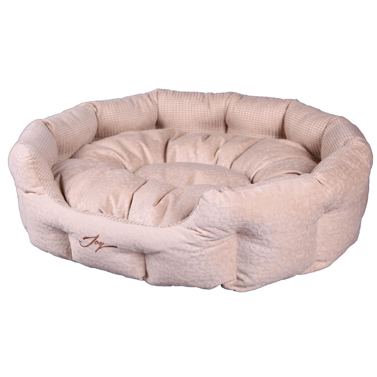 Лежак для животных JOY Лежанка круглая 70х55х22см собак, бежевый