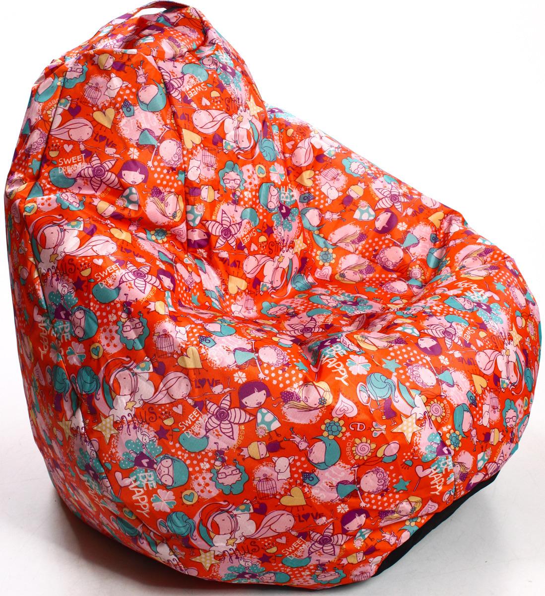 Кресло-мешок мини Оранжевое настроение, 18999, оранжевый18999Кресло-груша Mini – мебель, обеспечивающая комфортный отдых и расслабление. Сиденье за несколько секунд адаптируется к форме тела, придерживая его. Это происходит благодаря наполнителю из сертифицированного пенополистирола. Гранулы гипоаллергенны, нетоксичны и не имеют запаха. Вес мешка 1,4 кг, что позволяет легко переносить его в помещении, брать с собой на дачу, пикник и даже в поход. За счёт маленького размера кресло впишется даже в самую небольшую детскую комнату. Купить кресло-груша Mini можно в качестве подарка друзьям или близким. Особенно уместным данный презент будет для тех, у кого есть маленькие дети. Благодаря бескаркасному строению, этот уникальный мебельный аксессуар не имеет встроенных металлических или деревянных деталей, острых углов. Все это обеспечивает безопасность изделия для маленьких детей. Мешок оборудован специальной ручкой для удобства транспортировки его в любое место.Размер: 600 x 600 x 900 мм