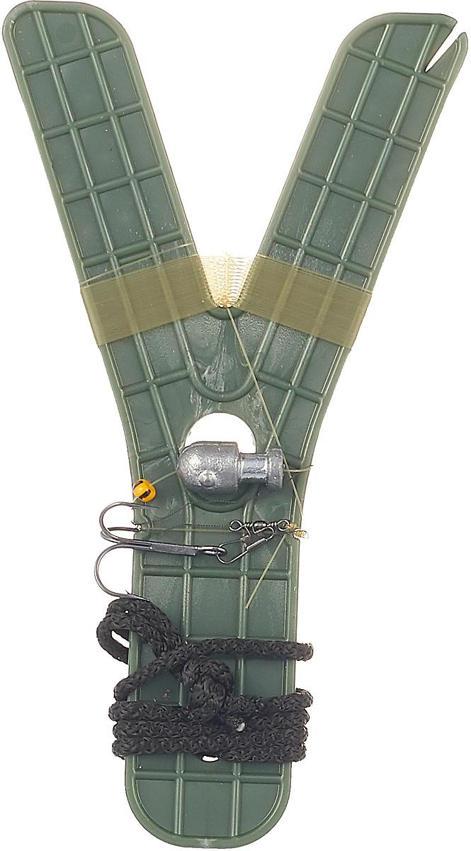 Жерлица-поставуха оснащенная Пронтекс, зеленый, леска 0,40 мм, длина 5 м, крючок тройник, груз