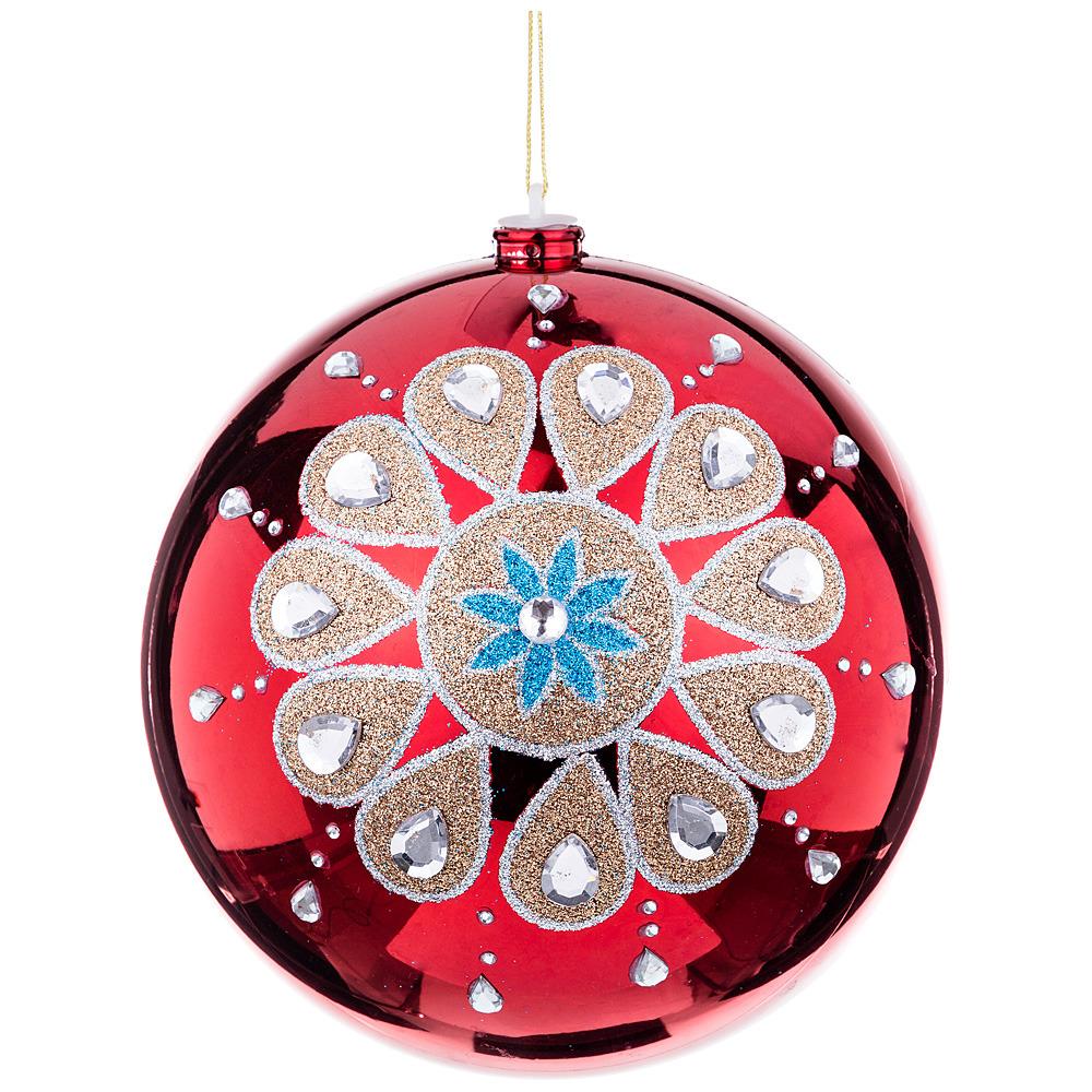 Украшение для интерьера Lefard Шар с орнаментом, 749-124, красный, диаметр 20 см украшение елочное шар красный с блестками 13 см красный полимерный материал