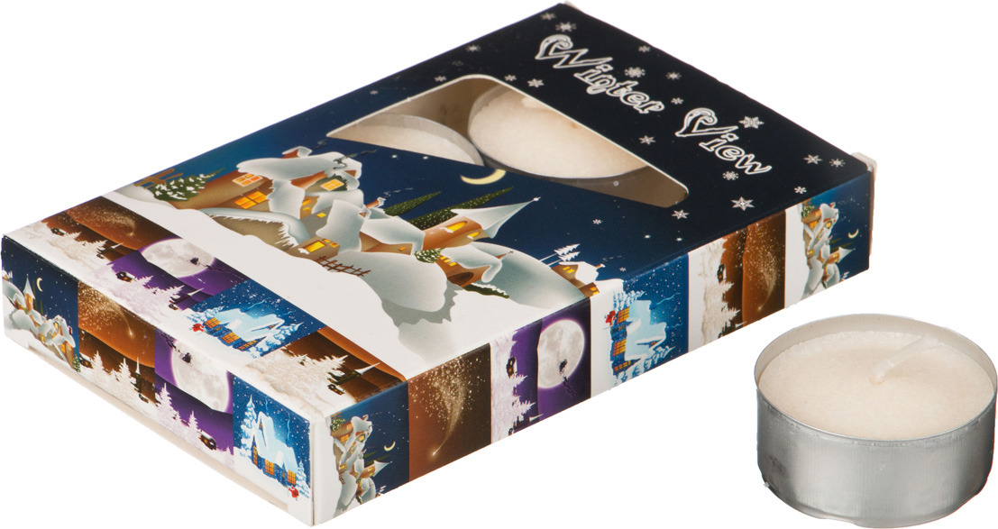 Набор плавающих свечей Lefard Зимний пейзаж, 348-442, белый, с подставкой, 4 х 2 см, 6 шт набор свечей lefard 348 622 фиолетовый 2 2 х 27 см 4 шт