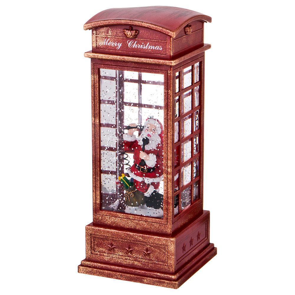 Украшение для интерьера Lefard Телефонная будка с Дедом Морозом, 865-395, красный, 10 х 10 х 25 см сувенир шкатулка телефонная будка 11 8 4см металлическая 12 07285 km 8