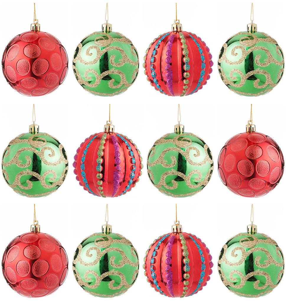 Набор декоративных шаров Lefard Модные завитки, 858-031, красный, зеленый, 12 шт набор воздушных шаров bebelot цветы 10шт bho1705 031