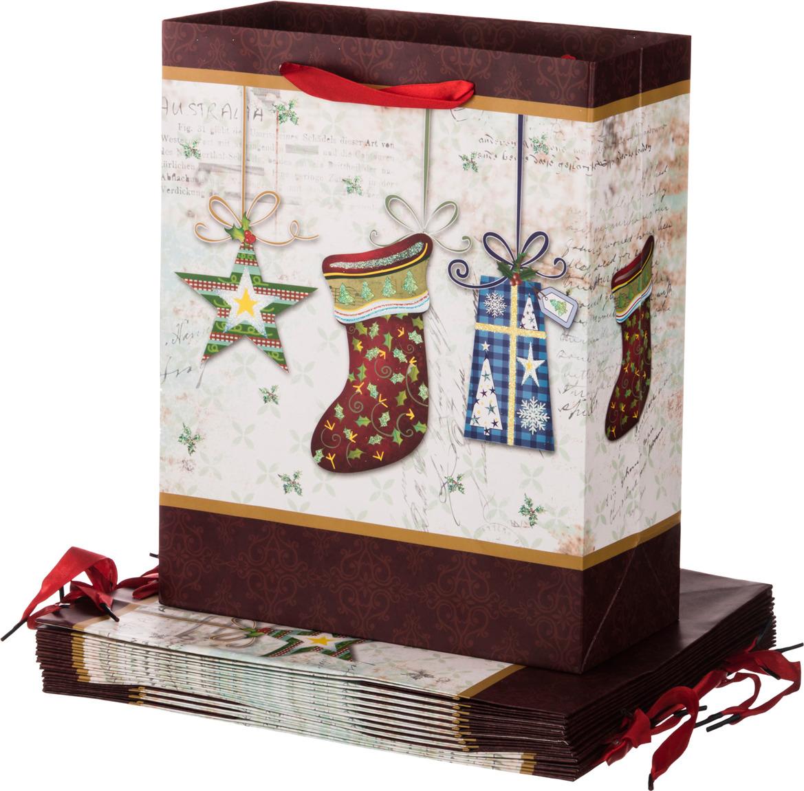 """Пакеты бумажные Lefard """"Новый год"""", 512-525, 32 х 26 х 12 см, 12 шт"""